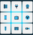 device icons colored set with plug smartphone vector image