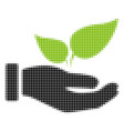 eco startup hand halftone icon vector image vector image
