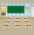 empty school classroom with green chalkboard vector image vector image