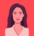 face avatar beautiful woman on red vector image vector image