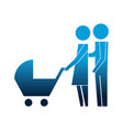 family couple with baby cart silhouette avatars vector image vector image