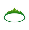 green forest landscape oval shape symbol design vector image