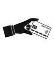 hand nfc credit card icon simple style vector image vector image