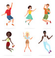 happy group of multi ethic teen friends jumping vector image