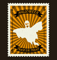 happy halloween postage stamps with ghost vector image vector image