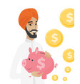 hindu businessman holding a piggy bank vector image vector image