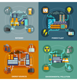 Industry flat collection layout vector image