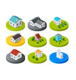 isometric 3d icon city buildings for web vector image vector image