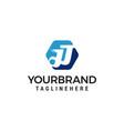 letter jj hexagon logo design concept template vector image vector image