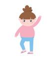 little girl waving hand cartoon isolated icon vector image vector image