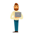 modern stylish man with beard stands and holds vector image vector image