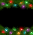 Multicolored Christmas lights on pine branches vector image vector image