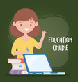 online education female teacher with laptop books vector image
