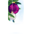 Pine branches with Christmas ornaments vector image vector image