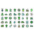 recycle factory icons set line color vector image vector image