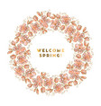 rosy and gold color sakura flowers wreath vector image