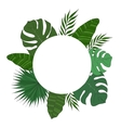 Round frame of palm tree leaves Tropical card or vector image vector image