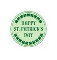saint patricks day circle label with shamrocks vector image vector image