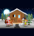 santa claus and elf standing in front of the snowi vector image vector image