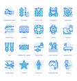 scuba diving snorkeling line icons spearfishing vector image vector image