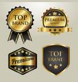 set gold badge top brand vector image