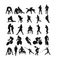 set sports people silhouettes collection vector image vector image