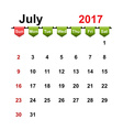 simple calendar 2017 year july month vector image vector image
