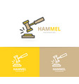 simple judge or auction hammer logo design vector image