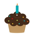 Single cupcake with candle icon