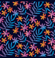 sketched seamless pattern with tropical flowers vector image vector image