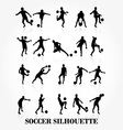 Soccer player silhouette collection vector image vector image