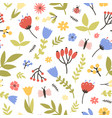 spring seamless pattern with blooming plants on vector image