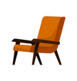 stylish orange armchair with wooden arms and legs vector image vector image