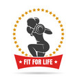 training woman fitness center emblem vector image vector image