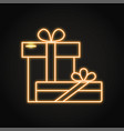 two gift boxes icon in neon line style vector image