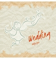 Wedding invitation card with beautiful bride vector image