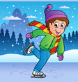 winter scene with skating boy vector image