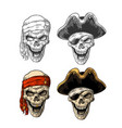 skull in pirate with clothes eye patch captainhat vector image