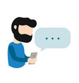 young hipster man guy with smartphone vector image