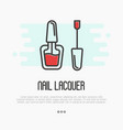 red nail lacquer icon for logo of manicure salon vector image