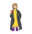 a girl in a coat with a paper cup coffee vector image vector image