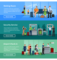 Airport People Flat Banners vector image vector image