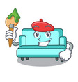artist sofa character cartoon style vector image