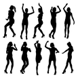 Beautiful women dancing silhouette isolated vector image
