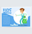 boy gathering plastic waste for recycling kids vector image