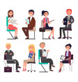 business people at job interview speak on chairs vector image