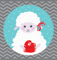 cartoon portrait of a white sheep with a christmas vector image vector image