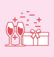 champagne glasses and gift box vector image