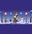 christmas street night tree and snowman lanterns vector image