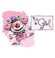 Clown Holding an Its a Girl Card vector image vector image